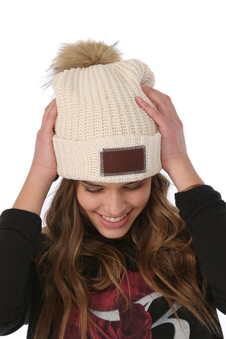 LYM Collaboration Knit Pom Beanie / Natural