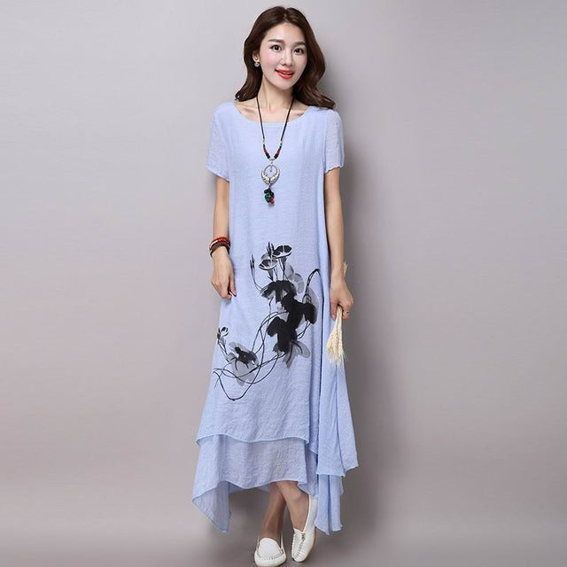 Casual Loose Long Vintage Print Dress