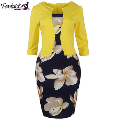 One Piece  Floral Print Elegant Business Dress