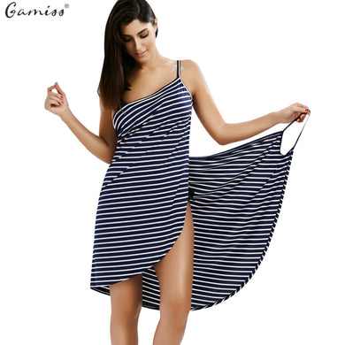 Backless Striped V-neck Knee-length vestidos