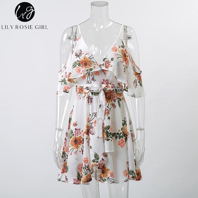 Off Shoulder Deep V Neck Floral Print Mini Dress