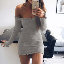 Sexy Off Shoulder Knitted Elastic Sweater Dress