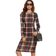 Elegant Bodycon All Season Multicolor Plaid Dress