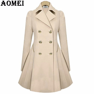 Elegant Long Wind Coat with Double Button