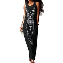 Long  Cat Print Casual Maxi Dress