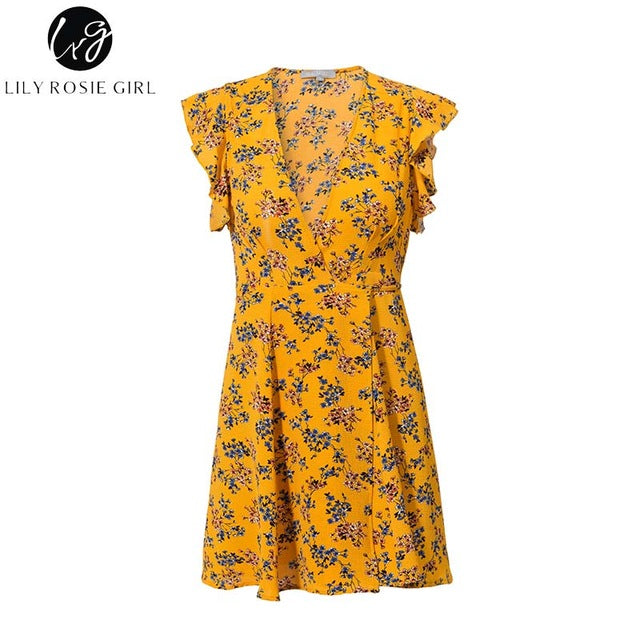 Short Sleeve V Neck Yellow Floral Print Dress