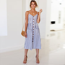 Sleeveless Pockets Pleated Backless Button Dress