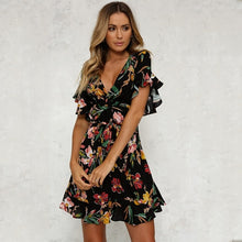 Deep V-Neck Black Flower Print Dresses
