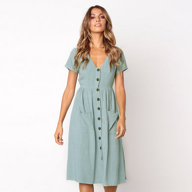 Short Sleeve V Neck Button Swing Midi Dress with Pockets