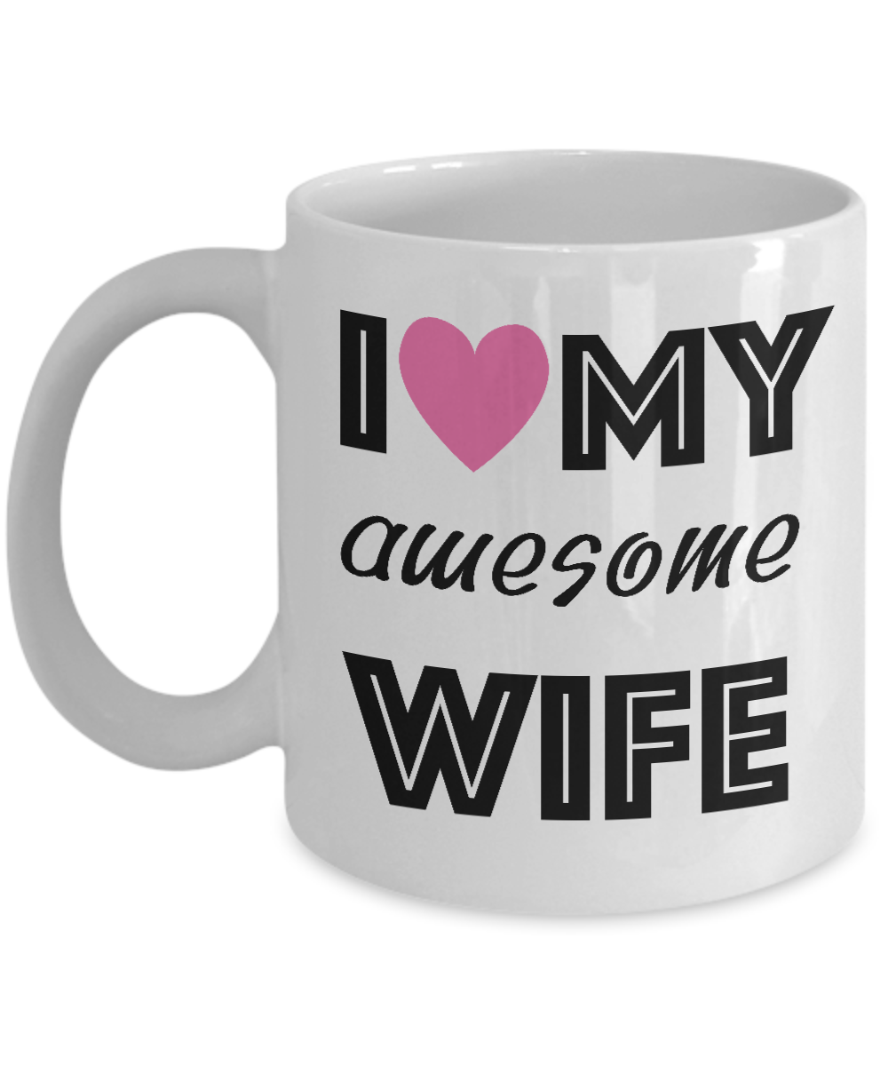 I Love My Awesome Wife Pink Heart Coffee Mug Valentines Day