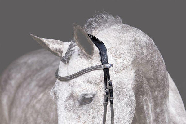 PS of Sweden Headpiece Medium Stitched Brown Cob (with white stitching)