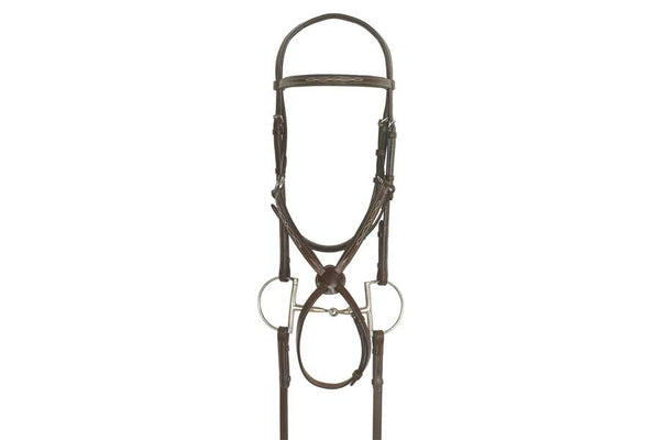 Ovation Elite Collection - Fancy Raised Traditional Crown Padded Figure-8 Bridle with BioGrip Rubber Reins