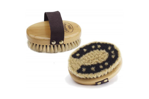 Equi-Essentials Wood Back Horseshoe Body Brush with Horse Hair