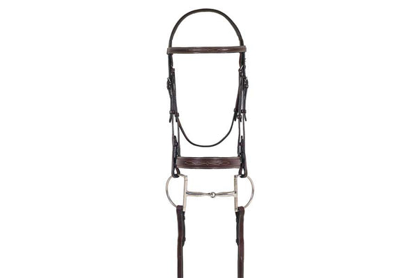 Ovation Elite Collection - Fancy Raised Comfort Crown Flat Wide Nose Padded Bridle with Fancy Raised Laced Reins