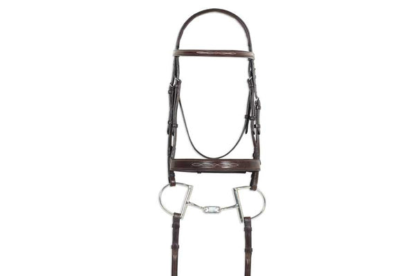 Ovation Classic Collection- Fancy Raised Comfort Crown Wide Noseband Bridle with Fancy Raised Laced Reins