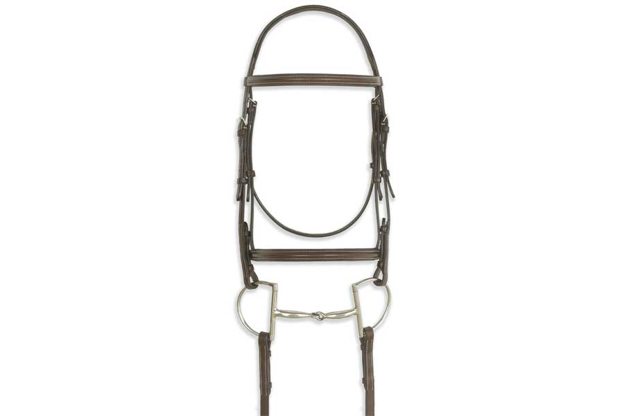 Ovation Classic Collection - Plain Raised Comfort Crown Padded Bridle with Laced Reins