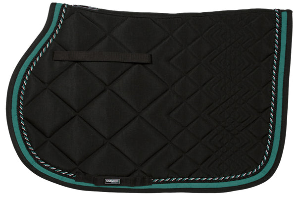 CATAGO Diamond All Purpose Saddle Pad Black w/Turqouise Piping