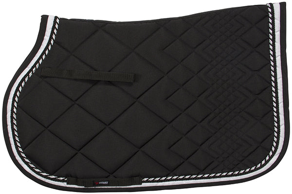 CATAGO Diamond All Purpose Saddle Pad Black w/White Piping