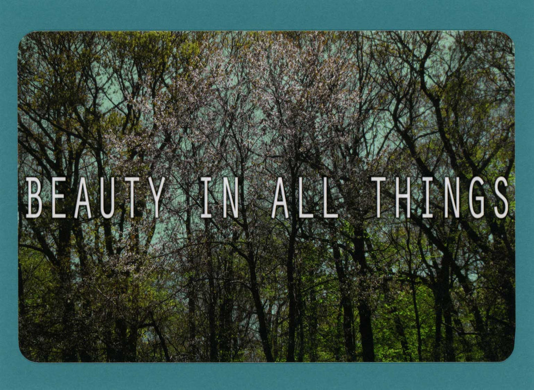 Beauty In All Things, Encouraging, Unique, Funky, Supportive, Notecard