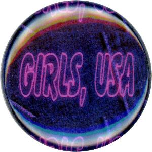 Girls, USA, Cute, Colorful, Whimsical, Fun, Funky, Happy, Button, Magnet