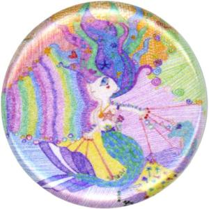 Juno, Colorful, Fun, Playful, Happy, Mermaid, Button, Magnet