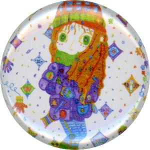 Koh-Zee, Cozy, Cute, Colorful, Winter, Snowflakes, Happy, Button, Magnet