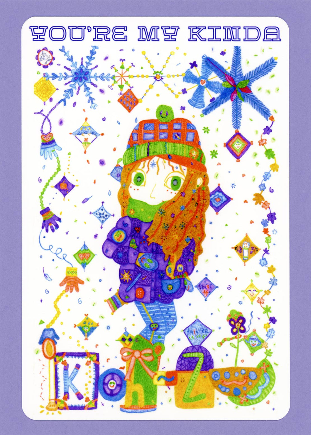 Koh-Zee, Cute, Cozy, Colorful, Fun, Winter, Snowflakes, Happy, Collectible, Notecard