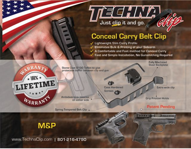 Smith & Wesson® M&P 9MM .40 .45 - Conceal Carry Belt Clip (Ambidextrous)