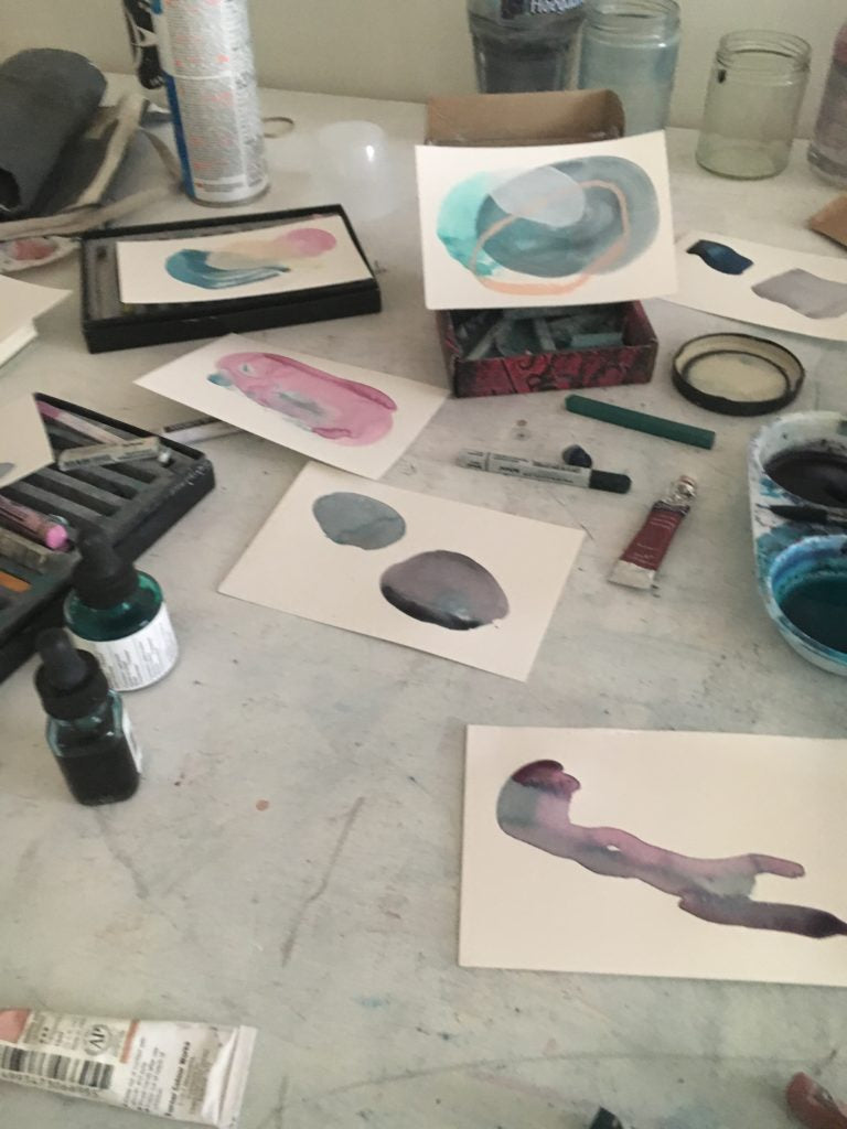 small studies and supplies across the work table