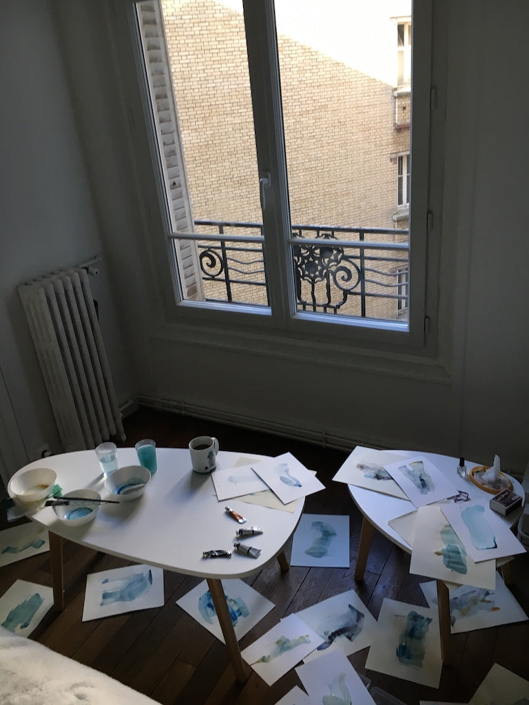 paintings drying in my little Paris apartment