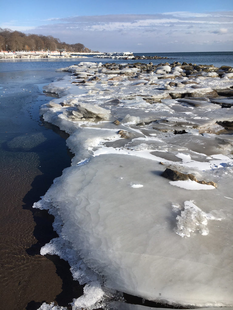 ice covering rocks on the beach