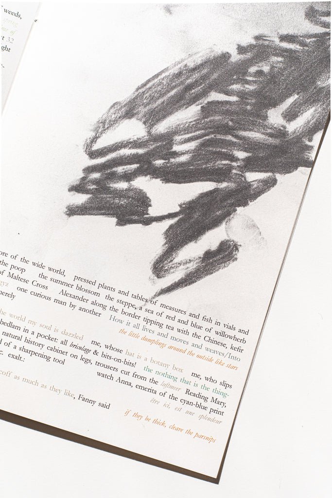close up from anglepoise of page with a charcoal drawing