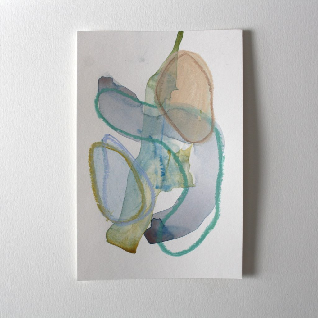 small abstract painting with light blue, light green, and taupe colours