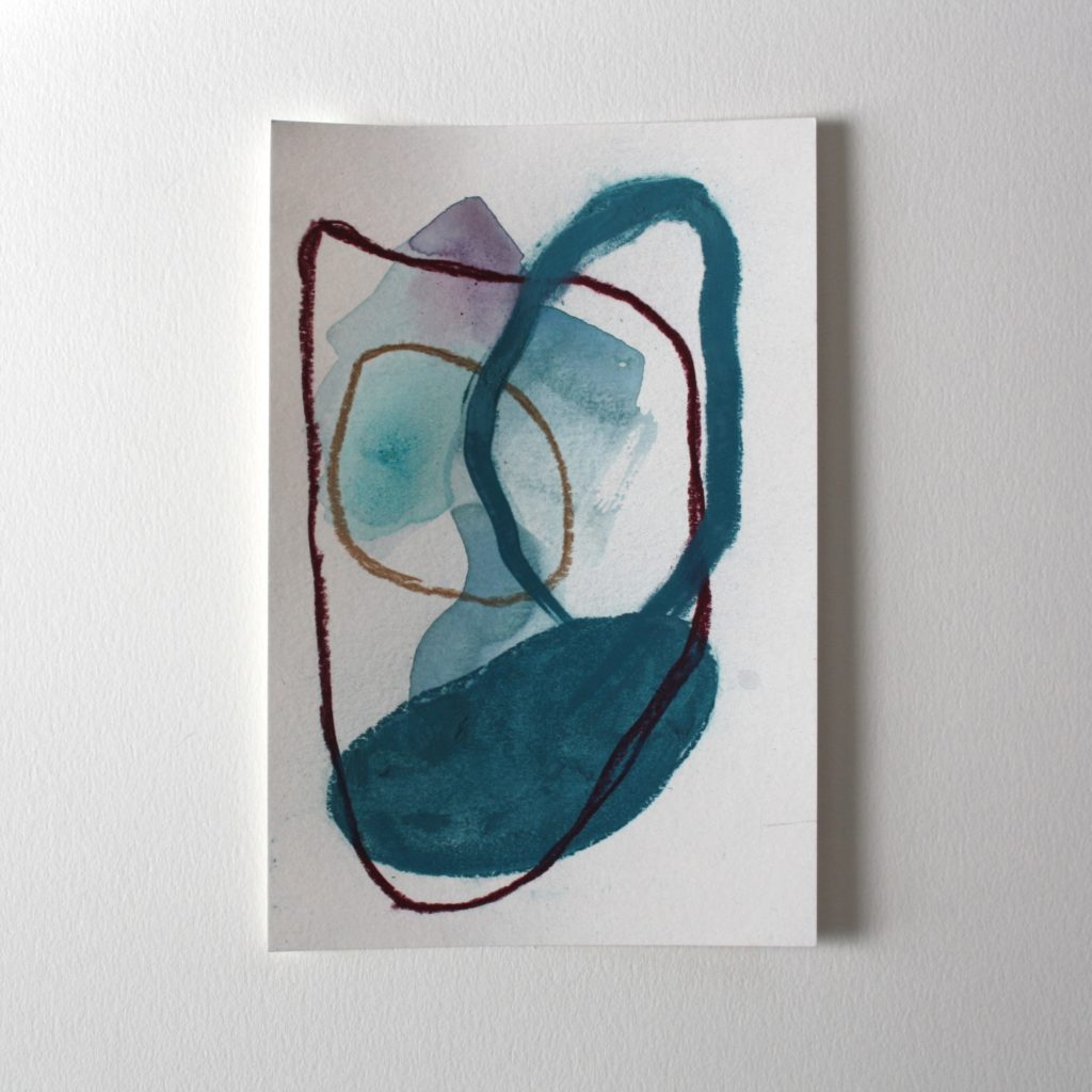 small abstract painting with dark green, blue and mauve colours