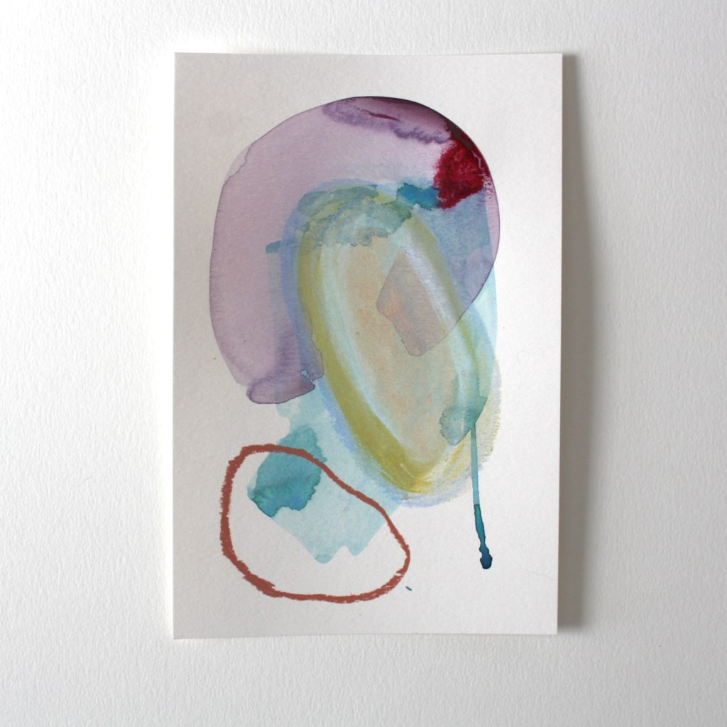 small abstract painting with green, pink and yellow colours