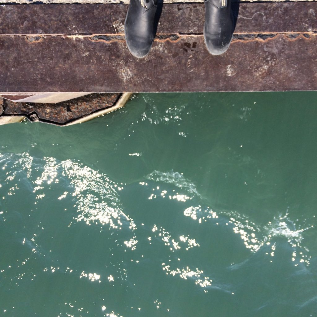bird's eye view of the pier with deep blue green water