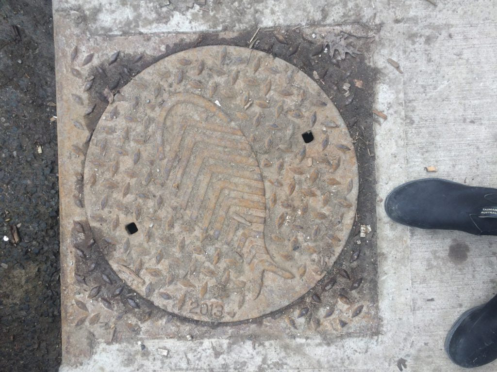 man hole cover with a fish design