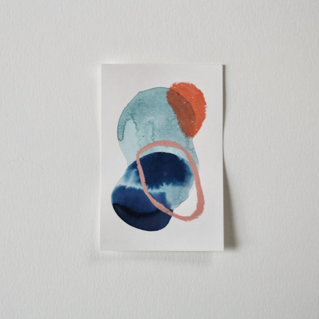 small abstract painting with indigo, orange and light blues
