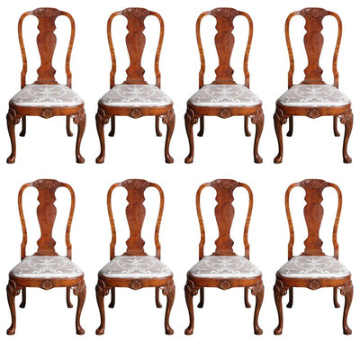 Set of Eight Queen Anne Style Dining Chairs