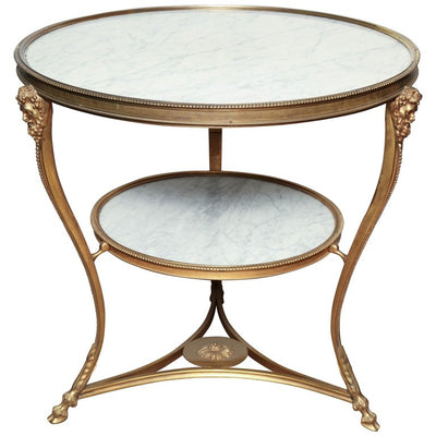 Louis XVI Style Bronze and Marble Gueridon