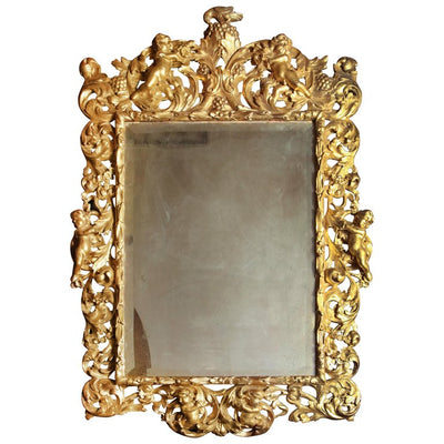 Italian Rococo Carved Giltwood Mirror