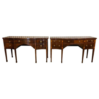 Pair of George III Mahogany Serpentine Sideboards