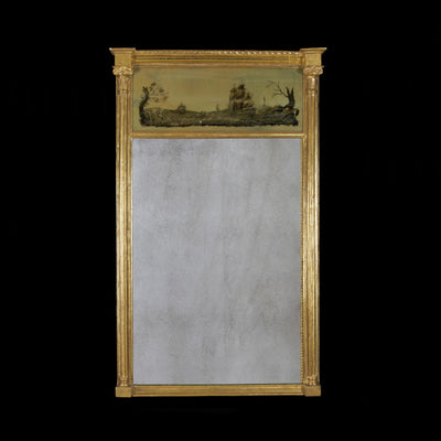 Regency gilt wood mirror with eglomise panel