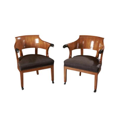 Pair of Italian Empire Fruitwood Arm Chairs