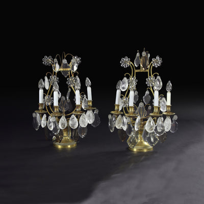 A Pair of Neo Classic Bronze and Rock Crystal Girandoles