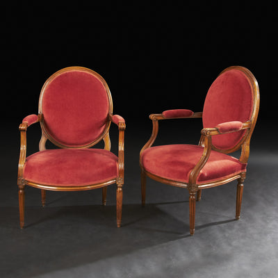 Pair of Louis XVI Walnut Oval Back Fauteuil a La Reine