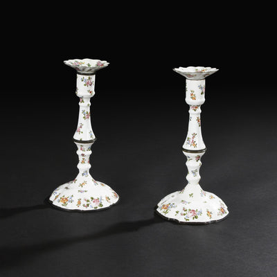 Pair of Battersea Enameled Candlesticks