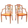 Pair of Painted Satinwood Armchairs