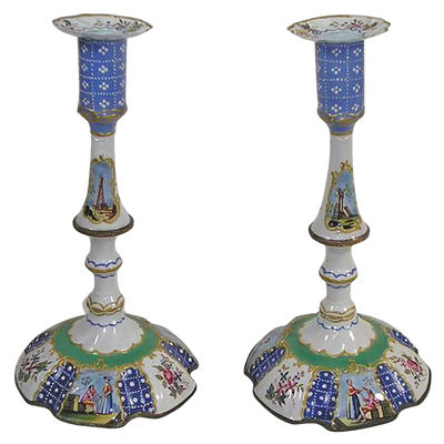 Pair of Battersea Blue and Green Candlesticks
