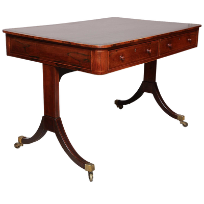 Regency Rosewood Leather Top Writing Table